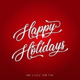 Happy Holidays Lettering Greeting Card Stock Photo