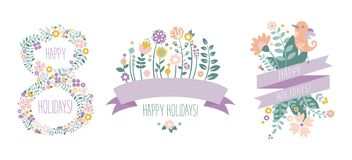 Happy Holidays lettering, 8 March floral design elements for party poster, greeting card, banner, invitation vector. Illustration isolated on a white background vector illustration