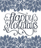 Happy Holidays lettering with ornament on white background Royalty Free Stock Photos