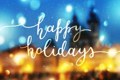 Happy holidays lettering. Happy holidays, lettering on winter blurred background Stock Images