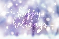 Happy holidays lettering stock photos