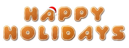 Happy Holidays, letters shape of Christmas gingerbread Stock Images