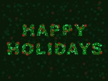 Happy Holidays in lights. Happy Holidays formed from piles of Christmas lights Stock Photos