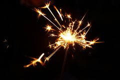 Burning sparkler firework. Happy new year and Merry christmas concept. Abstract blurred of Sparklers for celebration. stock photos