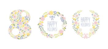 Happy Holidays, 8 March floral design elements for party poster, greeting card, banner, invitation vector Illustration. Isolated on a white background vector illustration