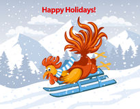 Happy Holidays, Merry Christmas and Happy New Year 2017 Greeting Card. With Cute Funny Rooster Riding on Sled Downhill in Snow Mountains Vector Illustration Royalty Free Stock Photos