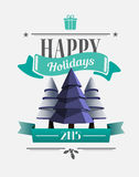 Happy holidays message with illustrations Stock Photo