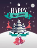 Happy holidays message with illustrations Royalty Free Stock Image
