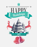 Happy holidays message with illustrations Stock Photography
