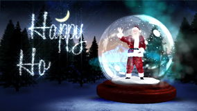 Happy holidays message with waving santa in snow globe stock footage