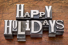 Happy Holidays in metal type Royalty Free Stock Photo