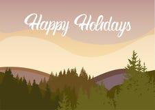 Happy Holidays Mountain Sunset Sky Landscape Royalty Free Stock Photo