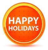 Happy Holidays Natural Orange Round Button royalty free illustration