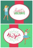Happy Holidays and New Year Party People Vector. Happy holidays and New Year party people. Inscriptions in white oval with celebration women. Holiday greeting in royalty free illustration