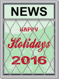 Happy holidays newspaper board Royalty Free Stock Photography