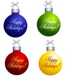 Happy Holidays Ornaments Stock Images