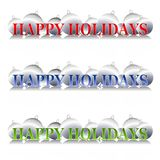 Happy Holidays Ornaments Logo. A clip art illustration of your choice of 3 silver Christmas ornament banners or logos featuring 'Happy Holidays' in gradient Stock Image