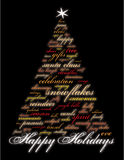 Happy Holidays and other words. On a black background in the shape of a christmas tree Royalty Free Stock Photos