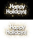 Happy holidays paper banners. Happy holidays paper banners set with shining sand. Vector illustration Stock Images