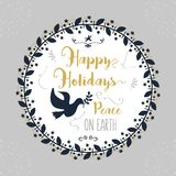 Happy Holidays, Peace on Earth floral circle border decoration emblem. On gray background Stock Photography