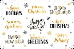 Happy holidays phrases. Hand written New Year phrases. Greeting card text  with snowflakes isolated on white background. Happy holidays lettering in modern Stock Images