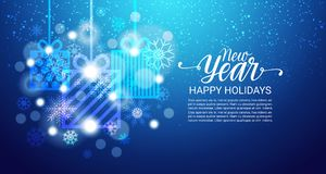 Happy Holidays Poster Shiny Bokeh Snoflakes On Blue Background New Year Decoration Banner With Copy Space. Vector Illustration royalty free illustration