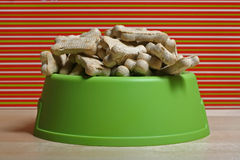 Happy Holidays Puppy. Dog treats in a bowl Stock Photography