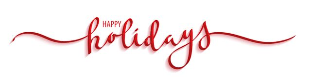 HAPPY HOLIDAYS red brush calligraphy banner