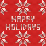 Happy holidays red knitting vector card Royalty Free Stock Image