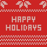 Happy holidays red knitting vector card Stock Photography