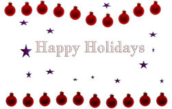 Happy Holidays Red Poster. Happy Holidays poster or card with blue stars and  red christmas ornaments Stock Photos