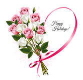 Happy Holidays ribbon heart shape with rose bouquet. royalty free stock photo