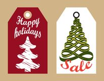 Happy Holidays Sale Badges New Year Sketch Trees. Happy holidays sale badges with New Year sketch abstract Christmas trees hanging tags, shopping promotional Royalty Free Stock Images