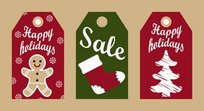 Happy Holidays Sale Promo Labels Christmas Symbols Royalty Free Stock Images