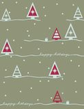 Happy holidays - seamless pattern. Seamless pattern with styled Christmas trees Stock Images