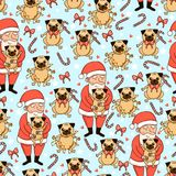 Happy holidays. Seamless pattern with  cute santa claus, pug, hearts, bows and lollipops. Stock Photography