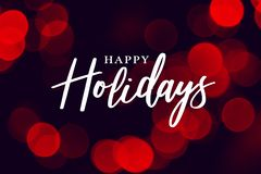 Happy Holidays Calligraphy with Red Duotone Bokeh Lights Background stock illustration