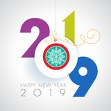 Happy 2019 holidays. Seasons greetings. Happy New 2019 year. Colorful, contemporary design. Vector illustration and photo image available royalty free illustration