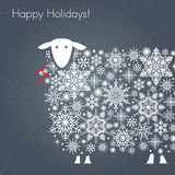 Happy Holidays Sheep. Greeting card. Stylish white snowflakes sheep, Chinese symbol of New Year, on dark grey background vector illustration