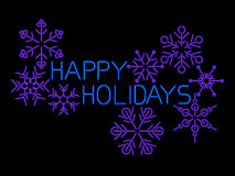 Happy Holidays Sign. Neon Happy Holidays sign with snow flakes Stock Images