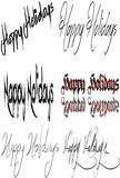 Happy holidays sign Collage. Words Happy Holidays Season written on white background Royalty Free Stock Image