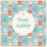 Happy Holidays Sign in Frame on Mittens Background. Vector Christmas and New Year Illustration Stock Images