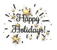 Happy holidays sign with gold stars. Happy holidays card with golden stars on white background. Vector paper illustration Royalty Free Stock Photo