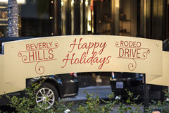 Happy Holidays Sign on Rodeo Drive in Beverly Hills, California Royalty Free Stock Photos