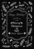 Happy Holidays silver flyer. Vector illustration of Happy Holidays greeting or invitation card decorated with silver Christmas elements Stock Photos