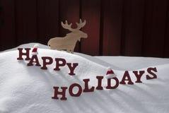 Happy Holidays Snow Moose Santa Hat Royalty Free Stock Image