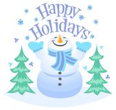 Happy Holidays Snowman. Cute illustration of a snowman with the heading Happy Holidays Royalty Free Stock Photo
