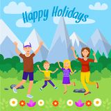 Happy Holidays Square Banner. Cheerful People. Happy Holidays Square Banner. Cheerful People in Mountains Landscape. Man, Woman and Little Kids on Nature royalty free illustration