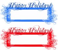 Happy holidays tags. Two different color version on white, ready to use vector illustration