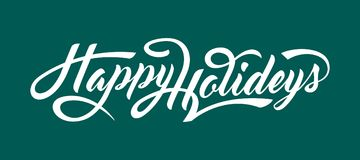 Happy Holidays text. Happy Holidays calligraphic text on blue background. n Royalty Free Stock Images